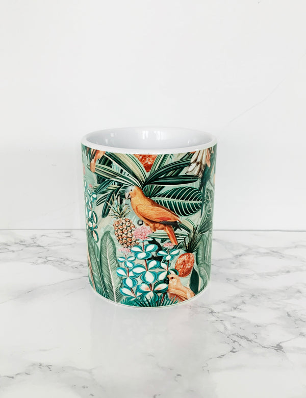 Jungle Flowers & Birds Artist Coffee Mug