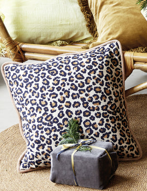 Leopard Print Organic Cotton Cushion