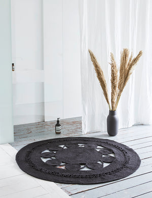 Mandala Black Braided Round Rug