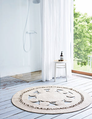 Mandala Natural Braided Round Rug