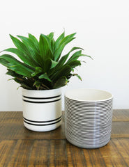 Monochrome Striped Ceramic Pots | Buy Scandinavian Homeware | The Den & Now