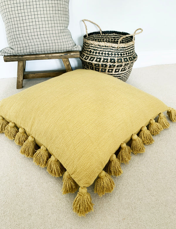 Mustard Large Cushion With Tassels