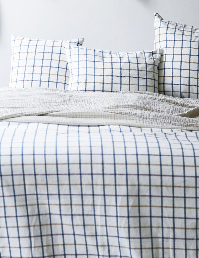 Natural Brushed Organic Cotton Checked Pillow