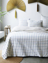 Natural Brushed Organic Cotton Checked Throw