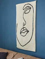 Natural Cotton Abstract Face Rug