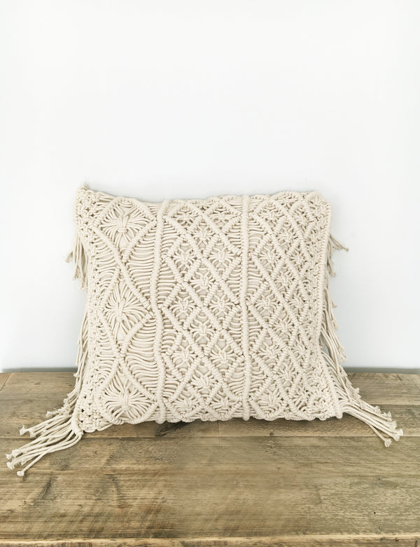 Natural Macrame Boho Cushion The Den Amp Now