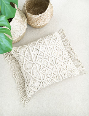 Natural Macrame Boho Cushion