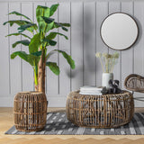 Natural Rattan Drum Side Table