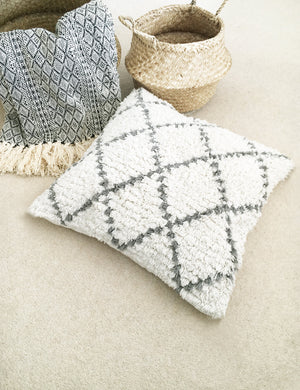 Natural Shaggy Moroccan Berber Cushion