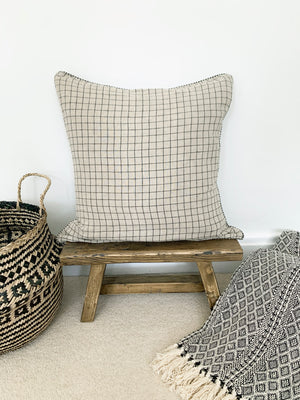 Natural Taupe Geometric Grid Print Cushion
