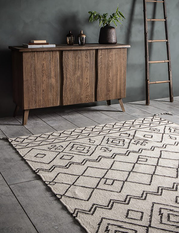 Natural & Black Geometric Print Rug