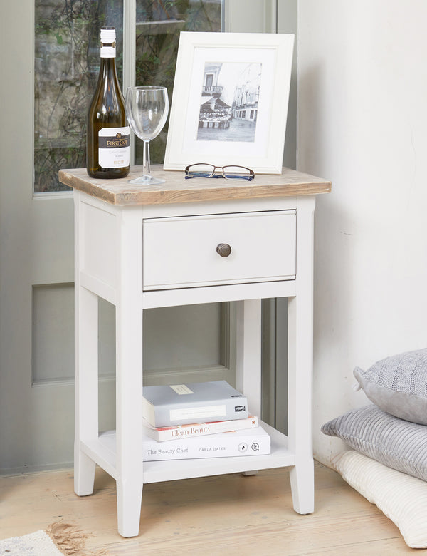 Nordic Grey Side Table With Drawer