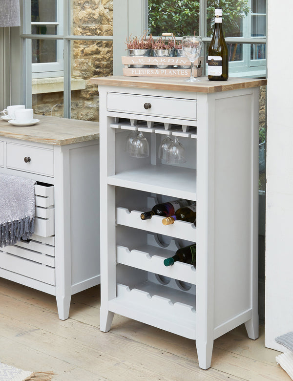 Nordic Grey Wine Rack & Storage Cabinet