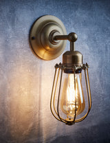 Orlando Vintage Cage Brass Wall Light by Industville