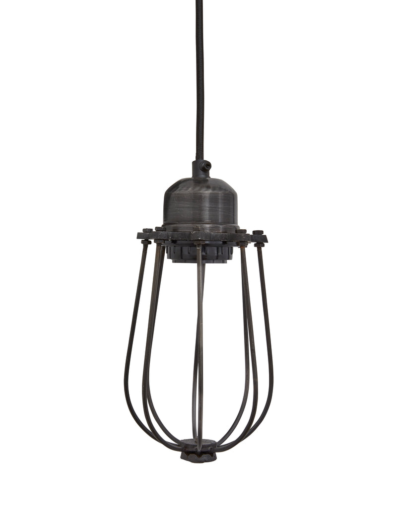 Orlando Vintage Cage Dark Pewter Pendant Light by Industville