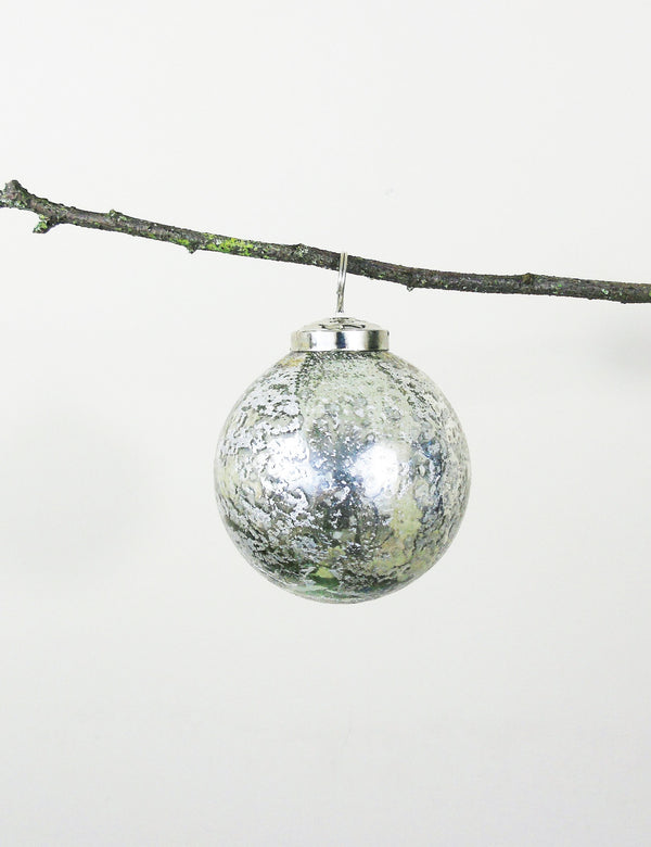 Pewter Stone Effect Glass Bauble