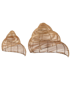Rattan Natural Spiral Shell Light Shades - Pair