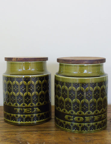Retro Green Tea & Coffee Containers (pair)