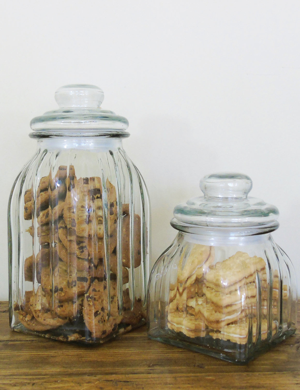 Retro Ribbed Glass Storage Jar