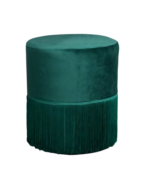 Round Forest Green Velvet Fringed Pouffe Footstool