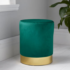 Round Forest Green Velvet Gold Pouffe Footstool