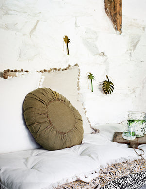 Round Linen Khaki Cushion