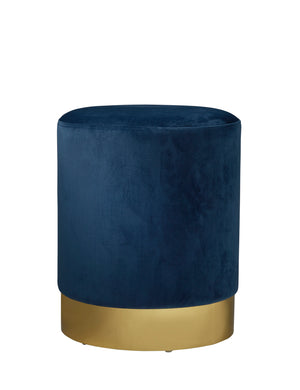 Round Midnight Blue Velvet Gold Pouffe Footstool
