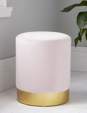 Round Pastel Pink Velvet Gold Pouffe Footstool