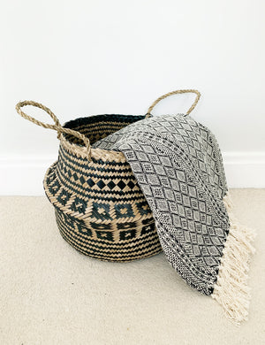 Seagrass Natural & Black Storage Basket