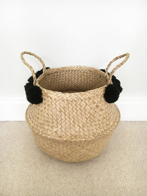 Seagrass Pom Pom Storage Baskets - Large