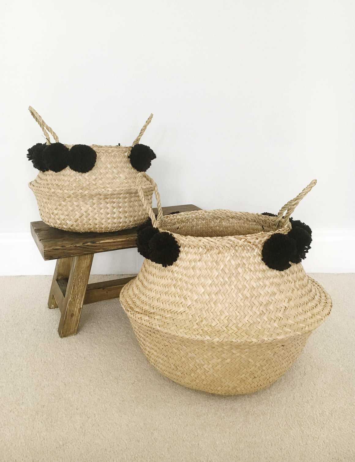 Seagrass Pom Pom Storage Baskets