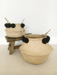 Seagrass Pom Pom Storage Baskets | The Den & Now