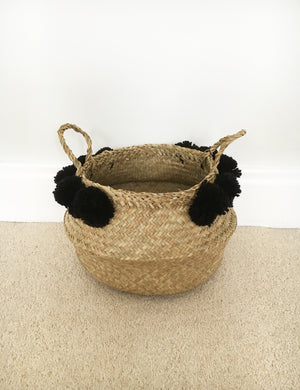 Seagrass Pom Pom Storage Baskets - Small