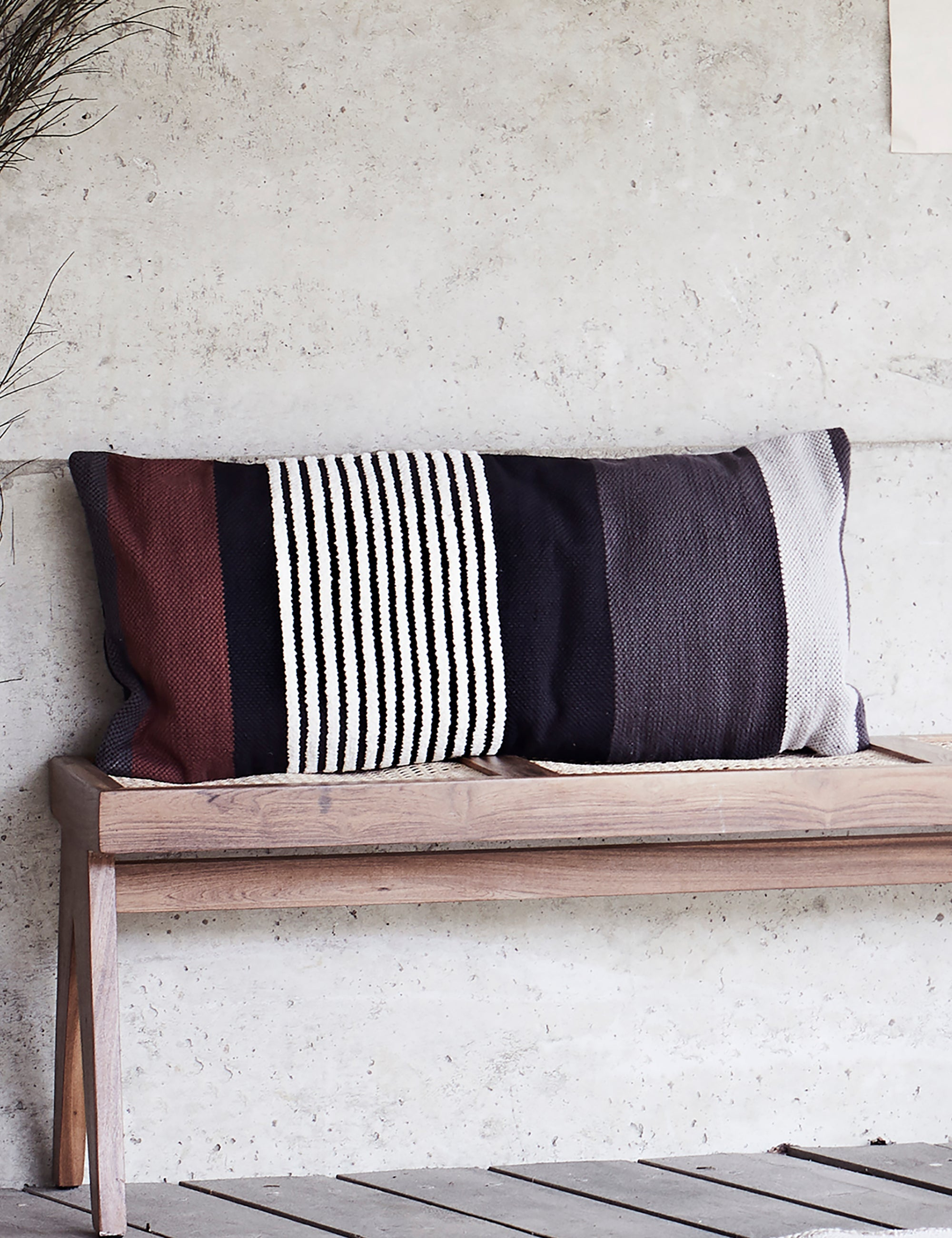 Burgundy & Black Striped Cushion