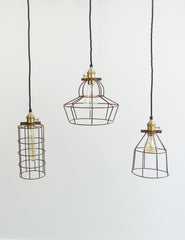 Simple Industrial Wire Cage Pendant Ceiling Lights | The Den & Now