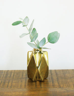 Small Gold Geometric Ceramic Vase