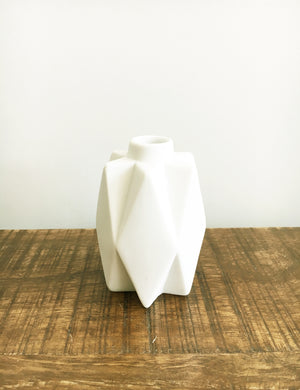 Small White Geometric Ceramic Vase