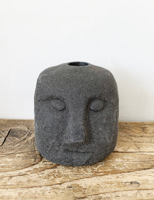 Stoneware Face Black Candle Holder