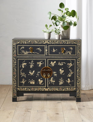 Nine Schools Oriental Decorated Black Sideboard