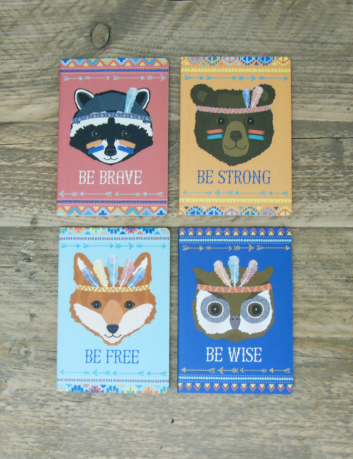 Tribal Animal Pocket Notebooks (set of four)