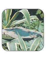 Tropical Summer Pool Artist Coaster