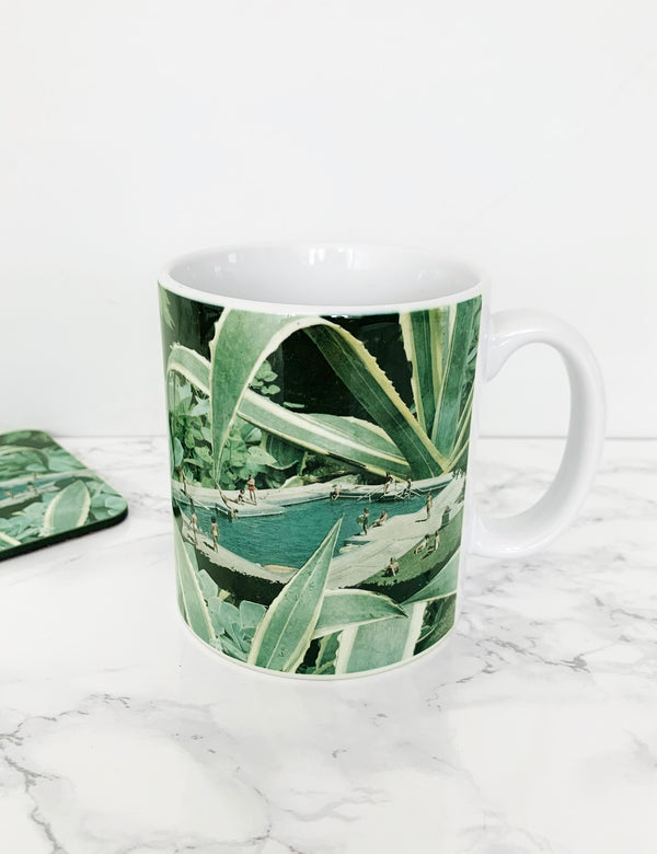 Tropical Summer Pool Artist Coffee Mug