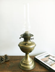 Vintage Brass Oil Lamp | The Den & Now