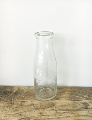 Vintage Glass Milk Bottle - Brough & Wild Dairies Manchester