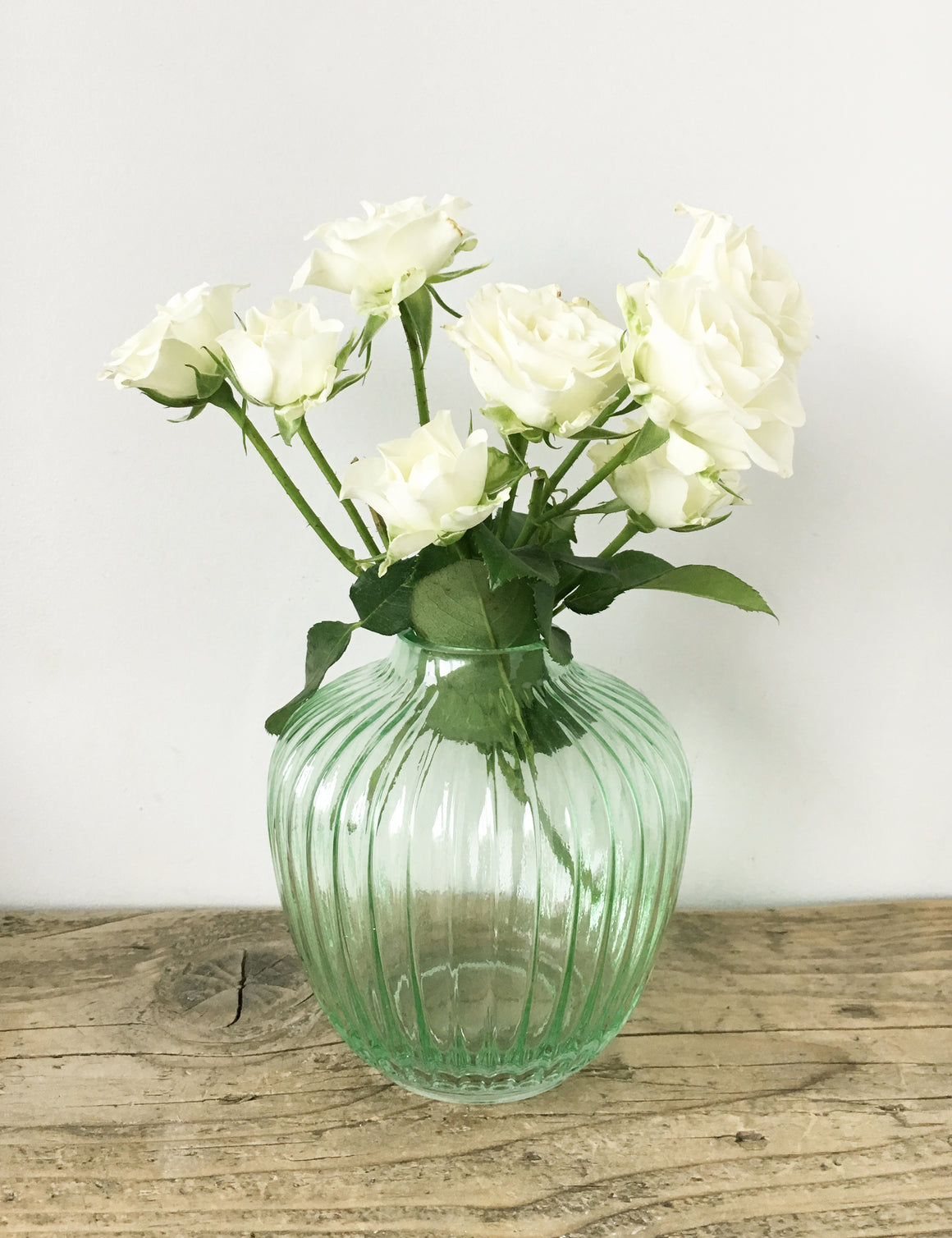 Vintage Style Glass Round Ribbed Vase