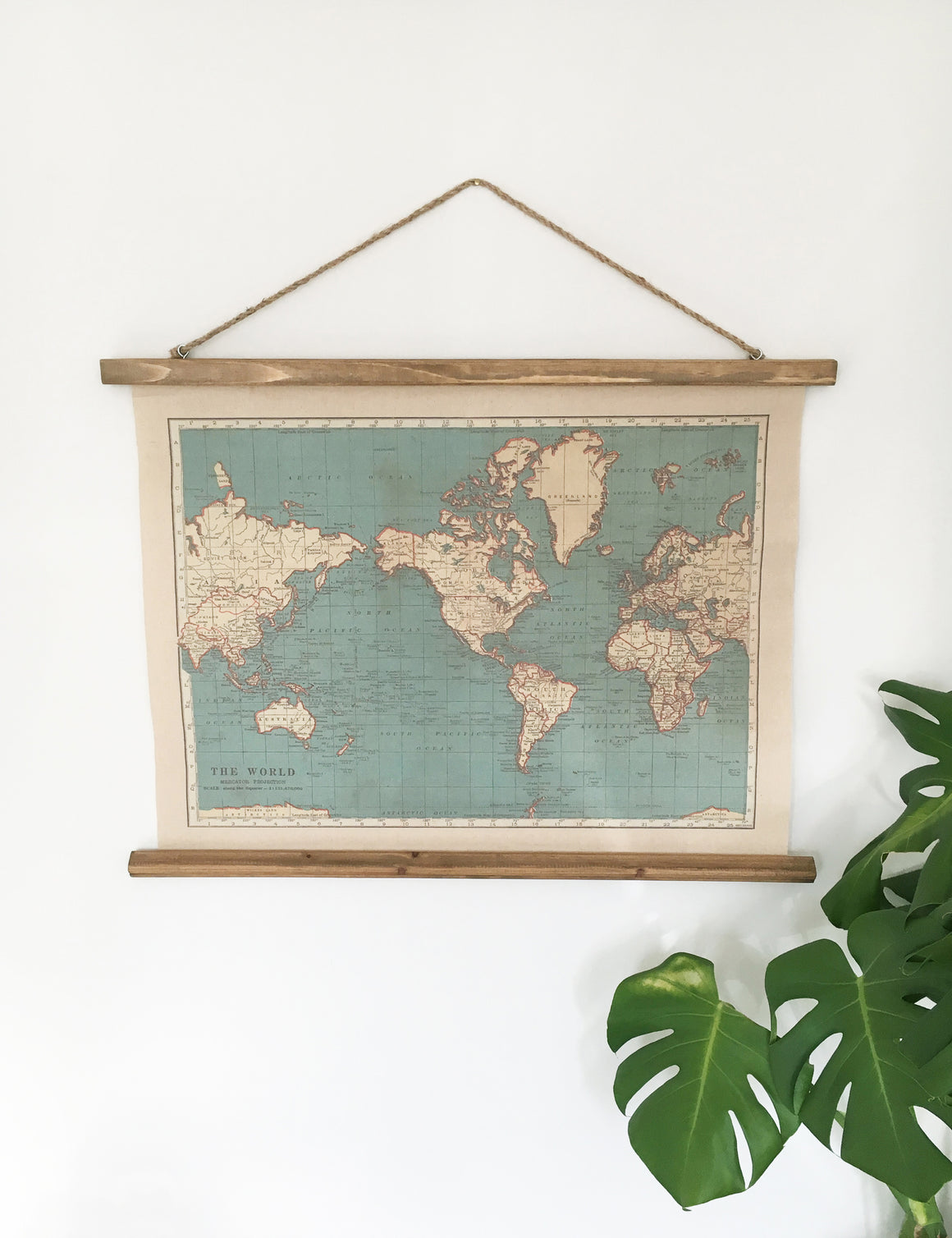 Vintage Hanging Wall Map