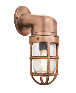 Vintage Industrial Cage Copper Bulkhead Wall Light by Industville