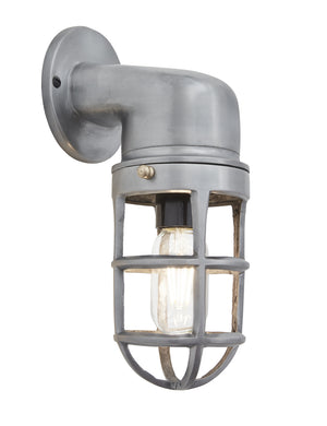 Vintage Industrial Cage Gunmetal Bulkhead Wall Light by Industville