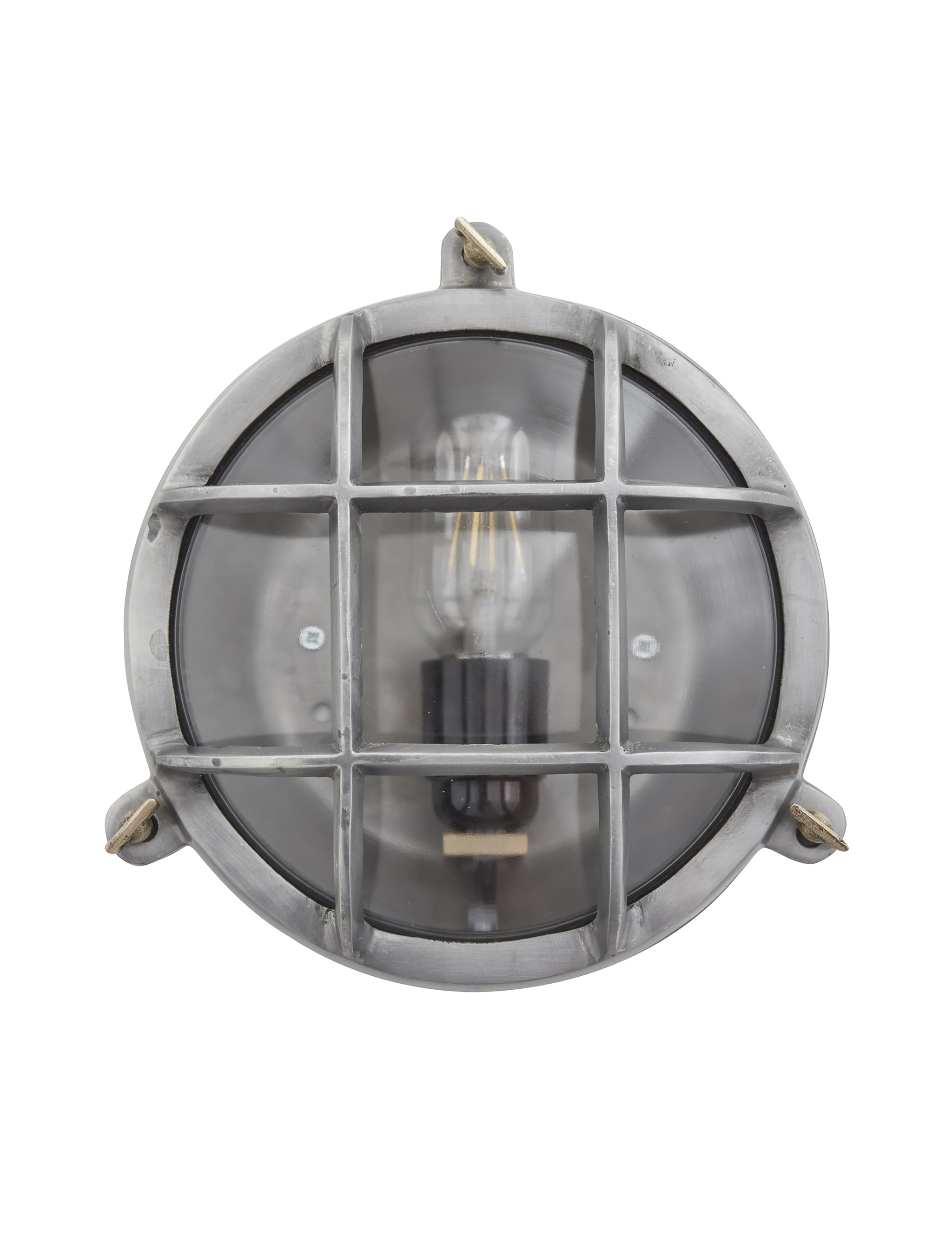 Vintage Industrial Heavy Round Bulkhead Retro Wall Light By Orlando Wire Cage Sconce Brass Industville