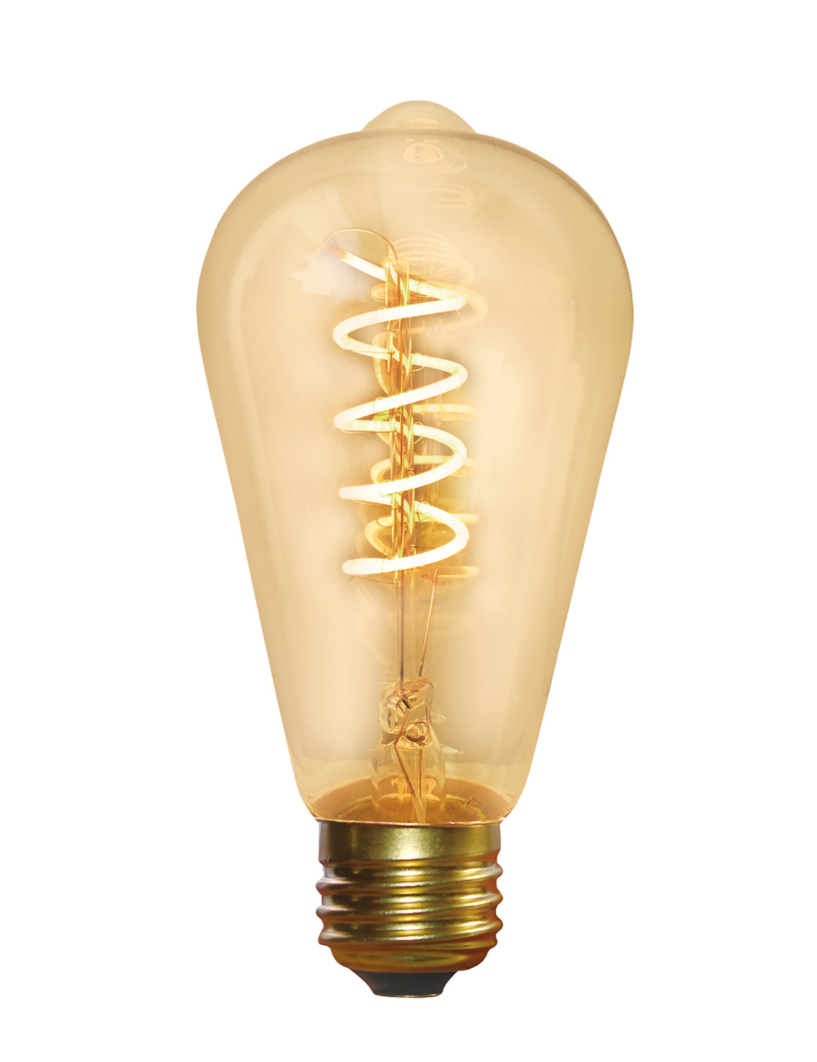 Vintage Spiral LED Edison Bulb Old Filament Lamp - 5W E27 Pear ST64 - Amber